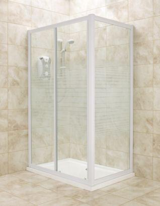 Rectangular Shower Enclosure White Frame Striped Glass 800mm