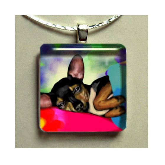 CHIHUAHUA DOG in BED jewelry necklace charm dangle beads