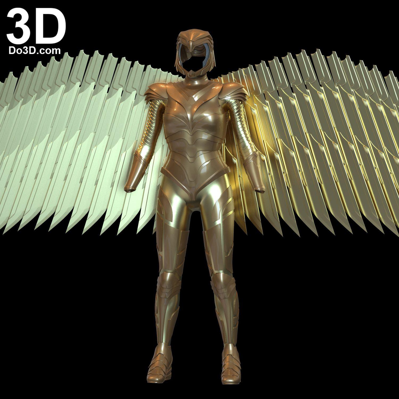 3d Printable Model Wonder Woman 1984 Diana S Golden Armor Print File Format Stl Do3d Com In 2020 3d Printable Models Wonder Woman Prints