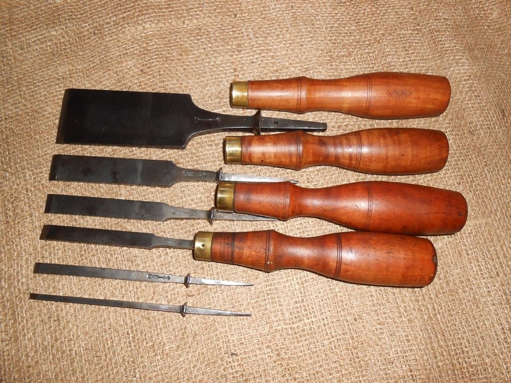 "Lot of 6 Antique w Butcher Tang Wood Chisels 5 32"" to 1 3"