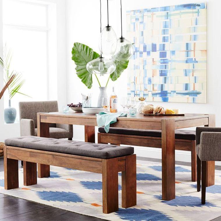 Table de salle manger de design rustique avec bancs en Salle a manger avec banc