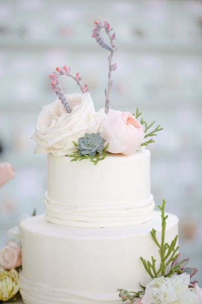 Sea theme - wedding cake, with succulent and peonies topper.