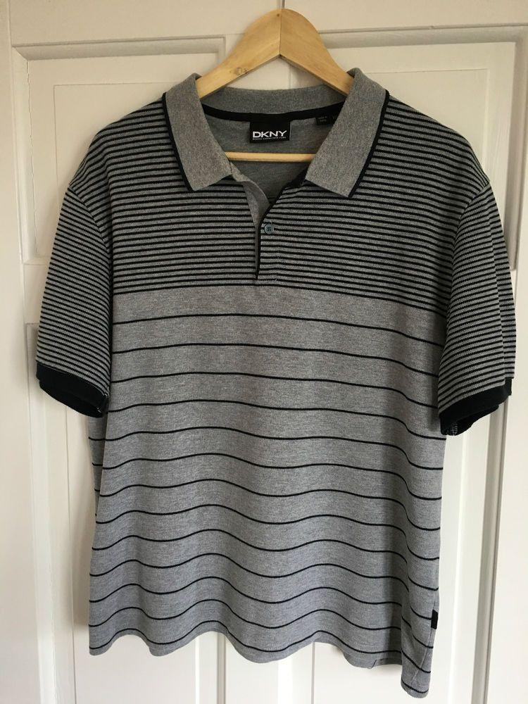 0409c63c0f Men s DKNY XXL Grey Stripe Polo Shirt