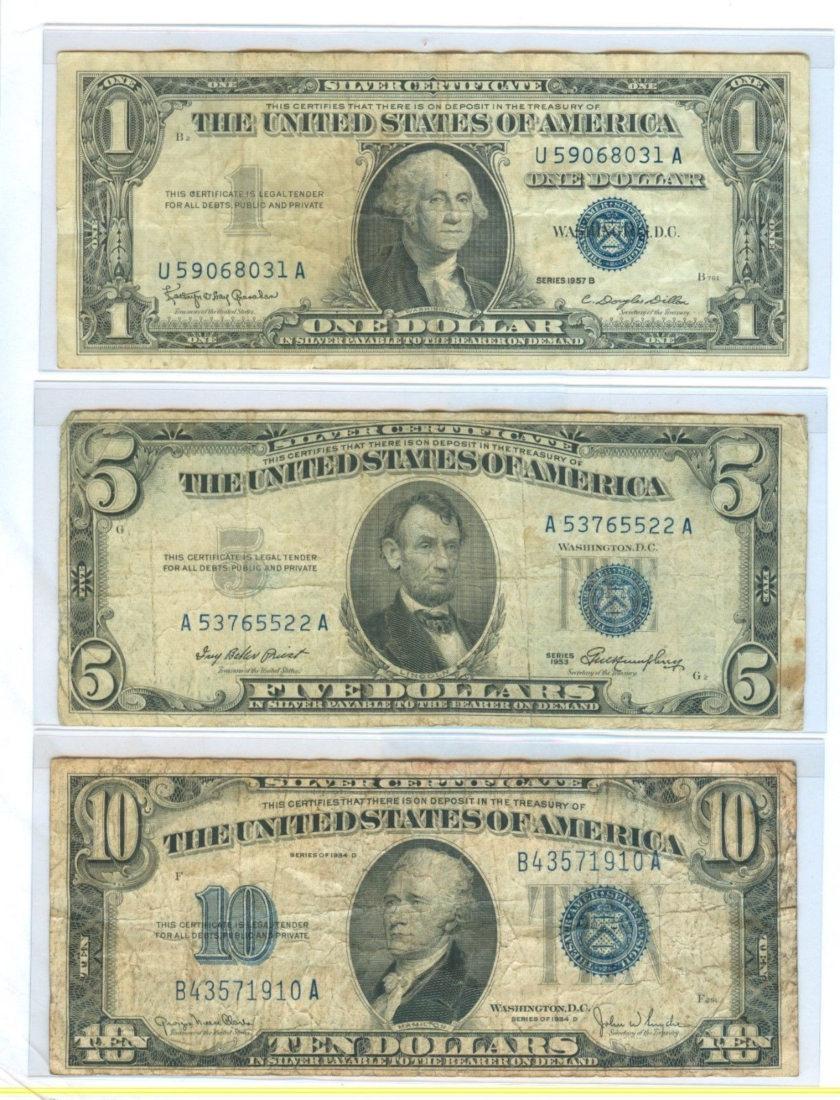 1957b 1 1953 5 And 1934d 10 Dollars Silver Certificate Total 3