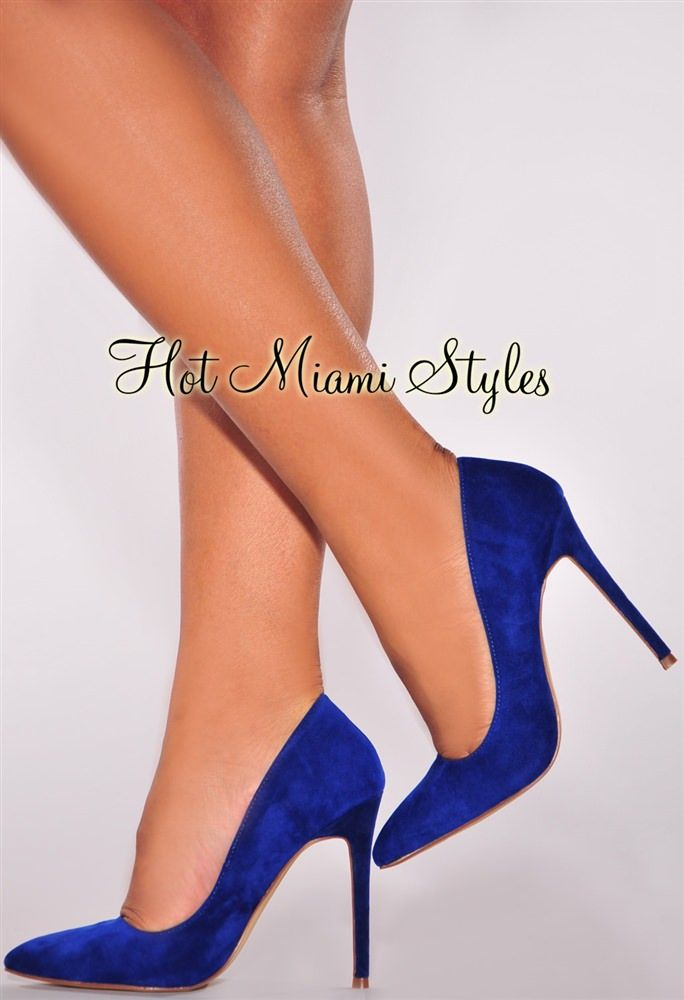 b6e7495ab460 Royal Blue Faux Suede Point Toe High Heel Pumps in 2019