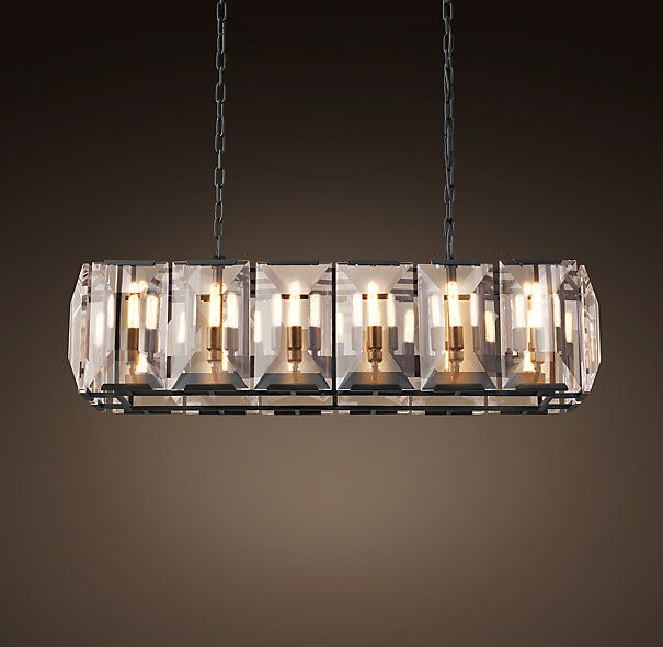 Harlow Crystal Rectangle Chandelier Grey Iron
