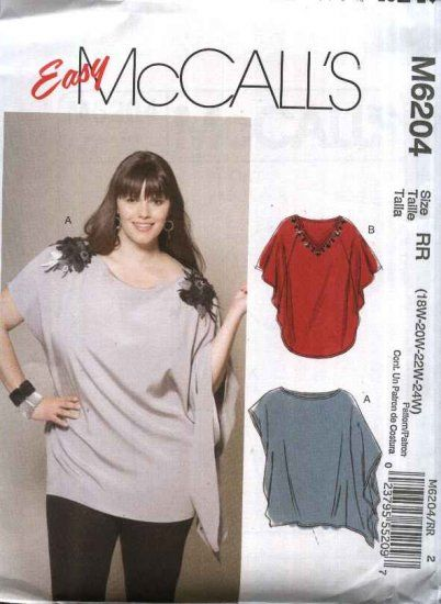 McCall\'s Sewing Pattern 6204 Womens Plus Size 18W-24W Easy Pullover ...