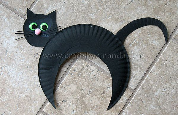 Paper Plate Black Cat Recipe Cat crafts, Black cats and Monster - homemade halloween decorations for kids