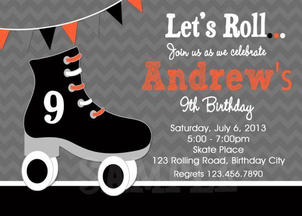 boys roller skating birthday invitation coles 8th birthday