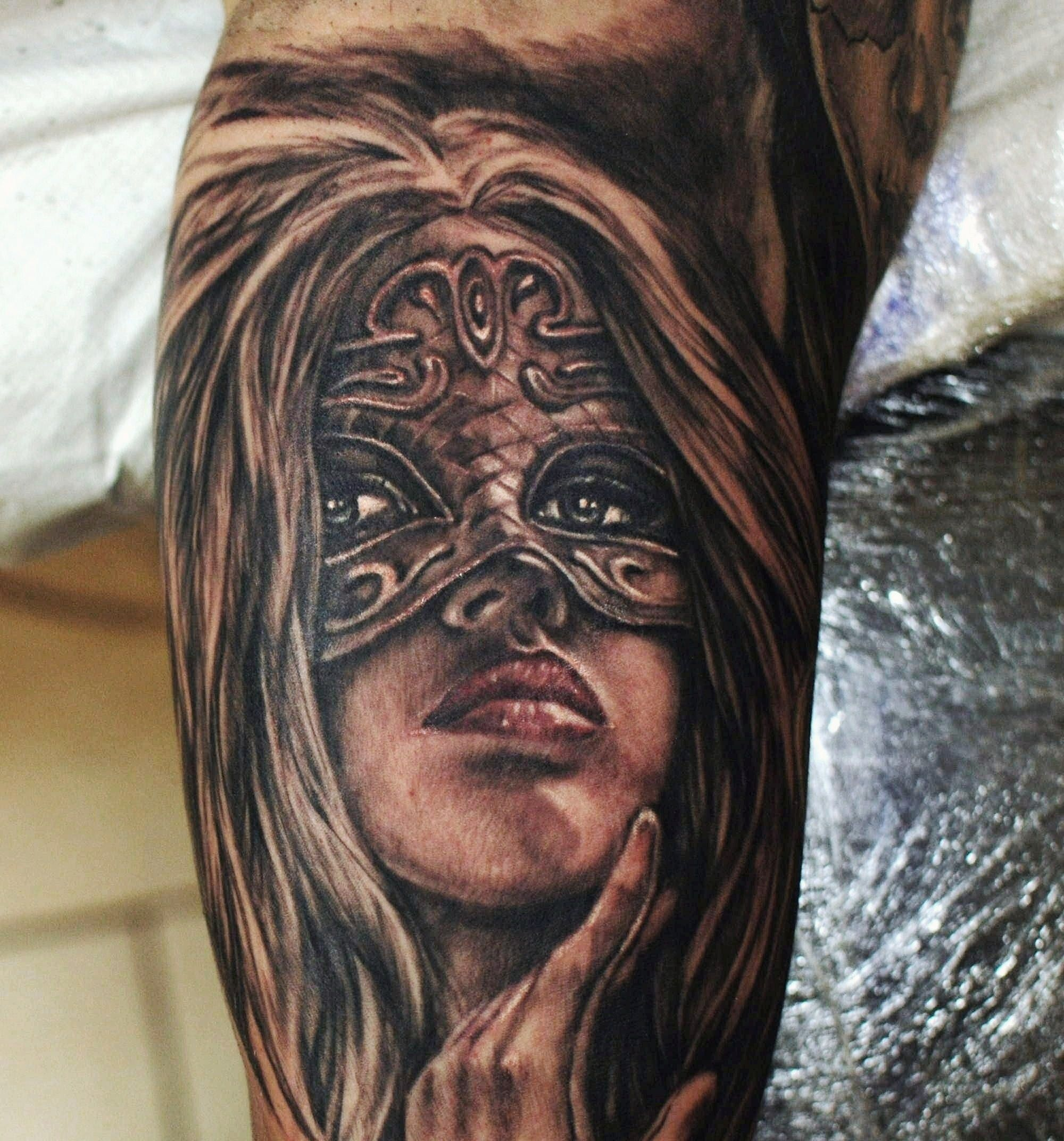 Tattoo Woman Face Mask: #venice #mask #girl #face #tattoo #west #london #ink
