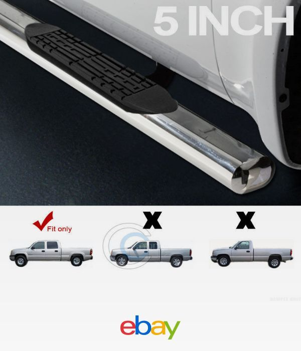 FOR 01-18 CHEVY SILVERADO CREW CAB OVAL BLACK SIDE STEP NERF BAR RUNNING BOARDS