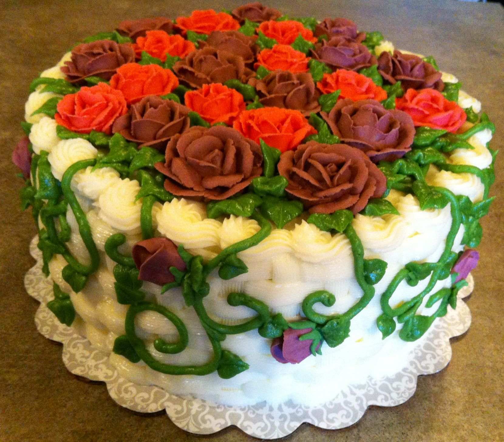 Basket Weaving A Cake : Basket weave cake with roses cakes