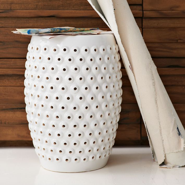 Bubble Ceramic Side Table 129 13 4 Diam X 18 1 H In White