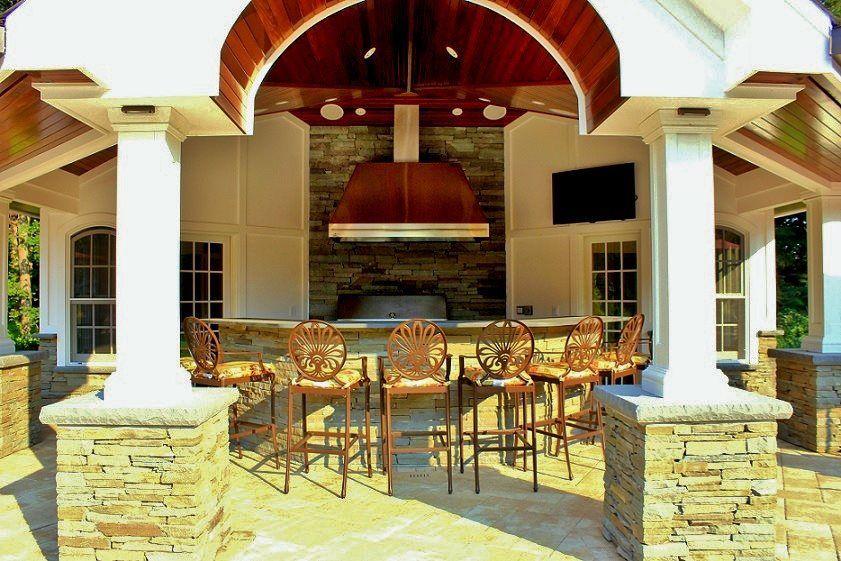 Custom Pool House Cabana with Outdoor Kitchen, Bar, Bathroom, and ...