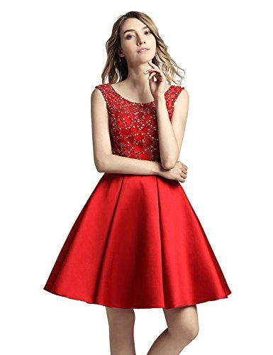 aba2713b14d Sarahbridal Juniors Sheer Stain Short Homecoming Dresses Sequin Beaded Party  Cocktial Gowns Red US2