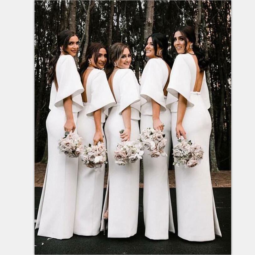 Fashion Unique Design Deep V Neck Floor Length White Satin Bridesmaid Dresses With Long Sleeves Wg395 Satin Bridesmaid Dresses Bridesmaid Dresses Bridesmaid Dress Stores