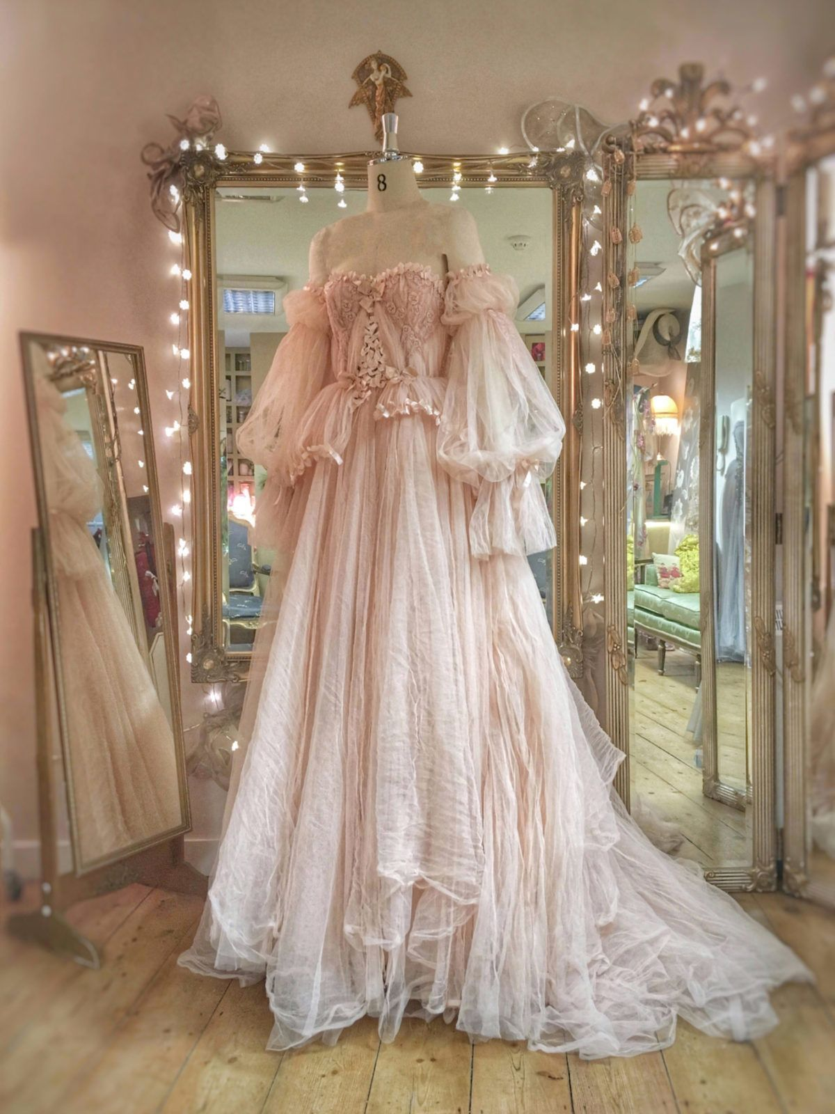 Romantic blush tulle and lace wedding dress with separate sleeves by