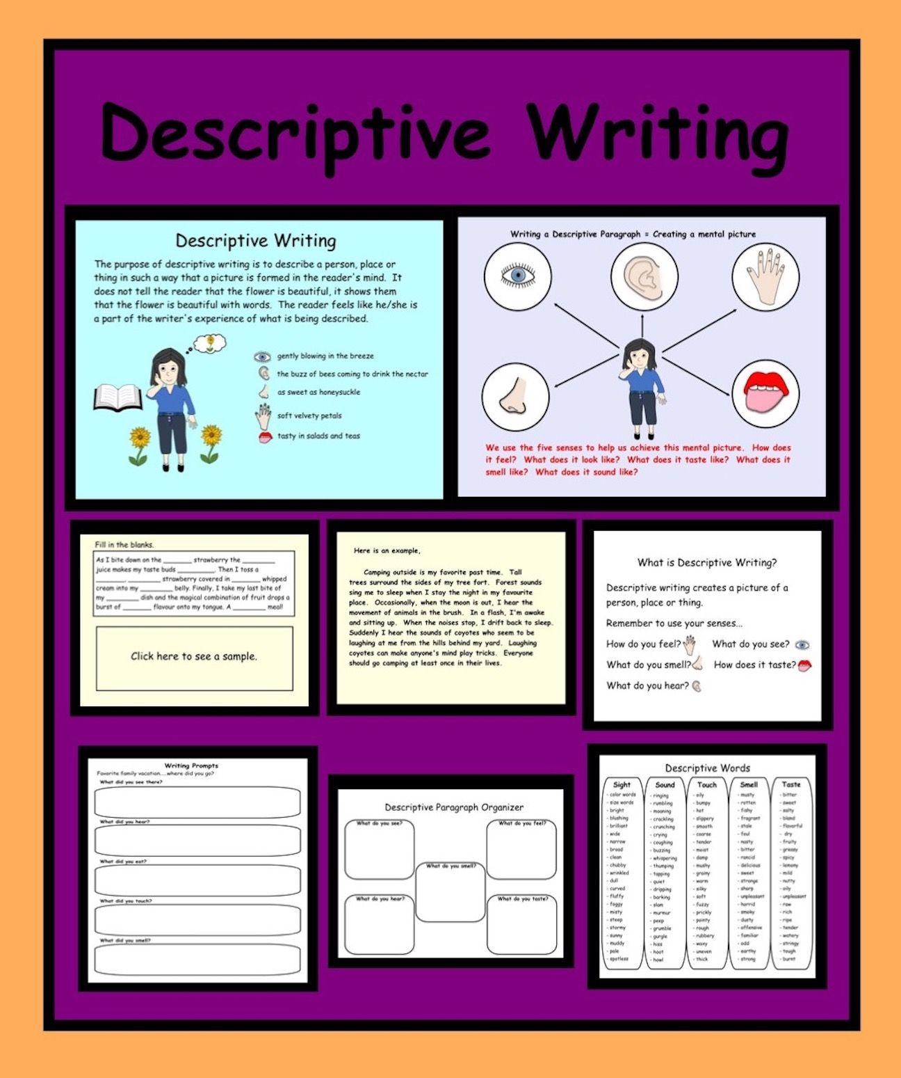 Smartboard Activity How to write a descriptive paragraph for grade 3-4   Descriptive  writing [ 1549 x 1296 Pixel ]