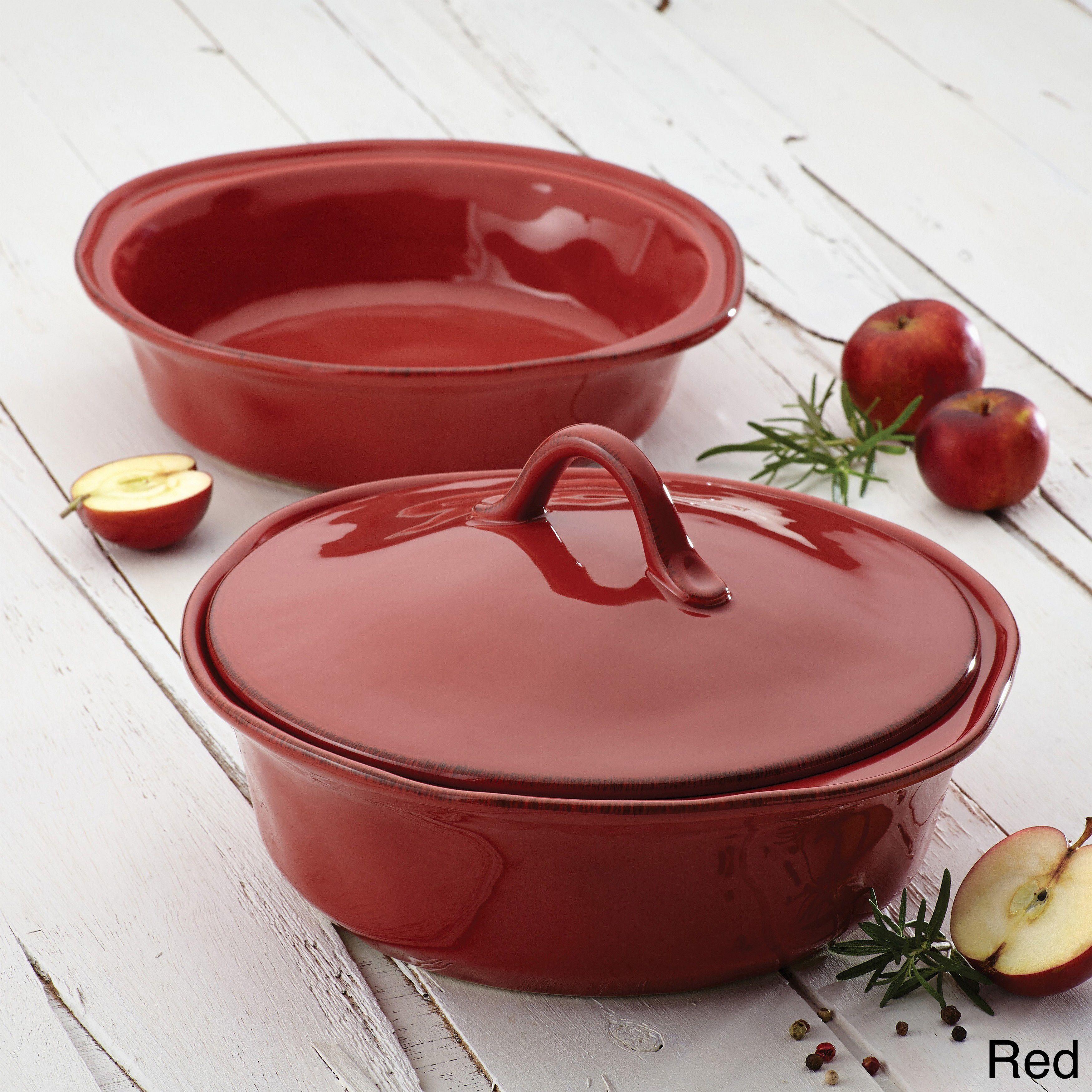 Rachael Ray Cucina Stoneware 3 Piece Cranberry Red Round Casserole And Lid Set Casserole Set