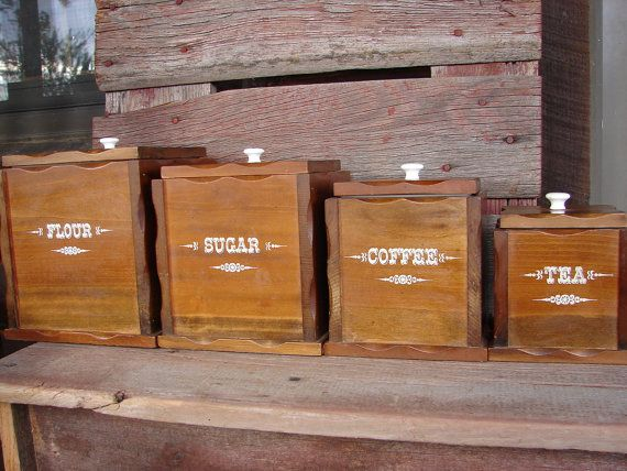Ordinaire Set Of FOUR Vintage Wooden Canister Sets   Mid Century Kitchen Canisters    Flour Sugar Coffee Tea Storage