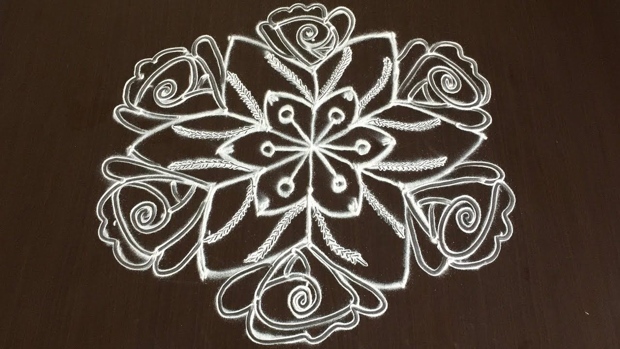 LATEST ROSE RANGOLI DESIGNS WITH 9 TO 5 DOTS SIMPLE
