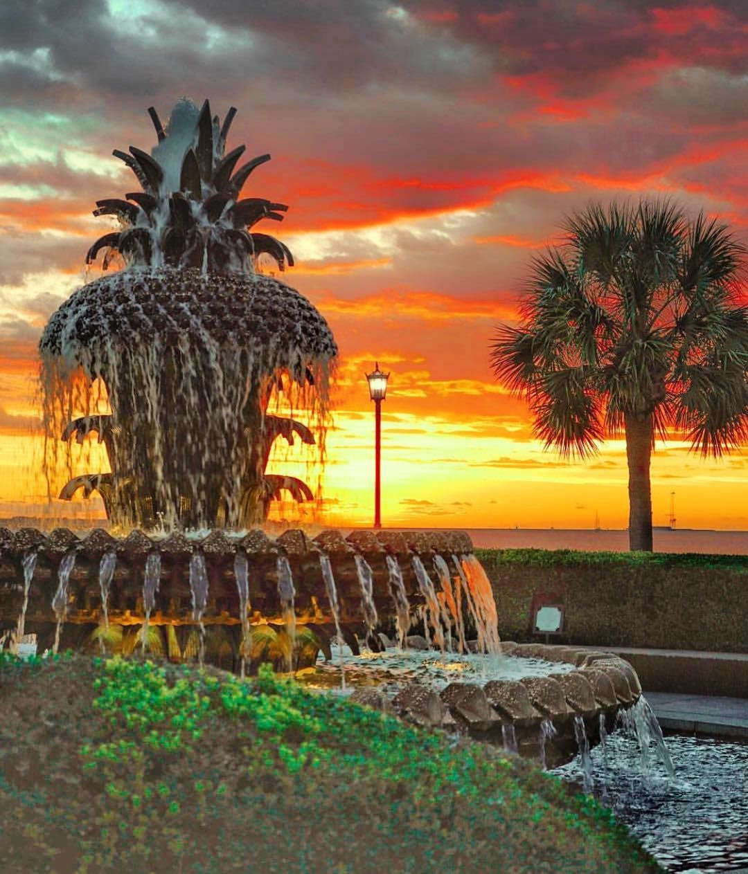Sunrise at waterfront park, a great place to stretch your