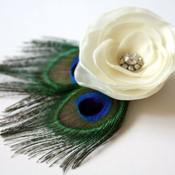 Ivory Flower And Peacock Feathers Wedding Fascinator Hair