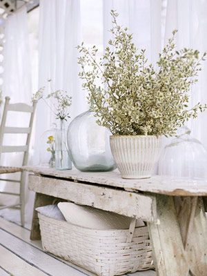 White On Rustic Country Cottage Style Decor Ribbed Vase With Flower Spray