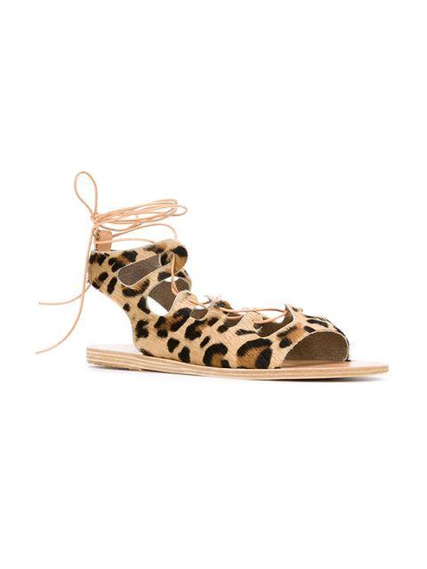 Ancient Greek Sandals Sandalen mit Leopardenmuster
