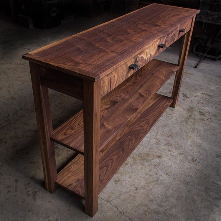 """Modern console table in solid walnut, made custom at 36""""H with"""