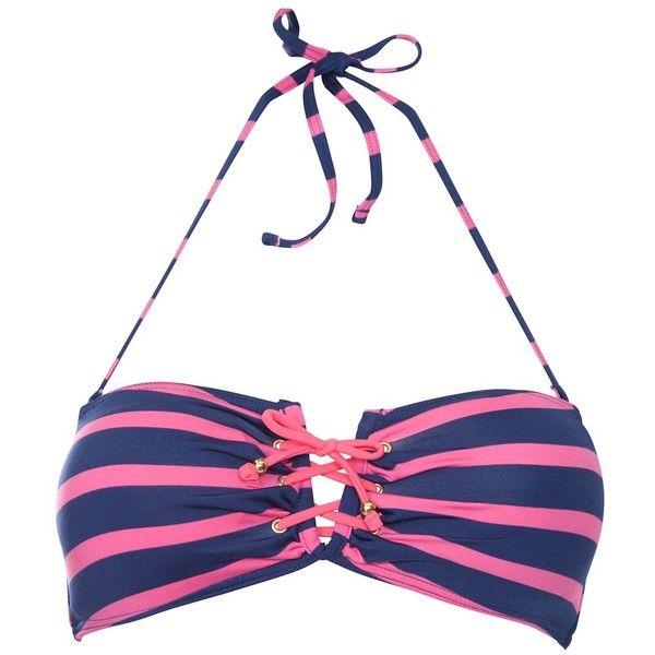 Blue Pink Stripe Lace Front Bandeau Bikini ($21) ❤ liked on Polyvore