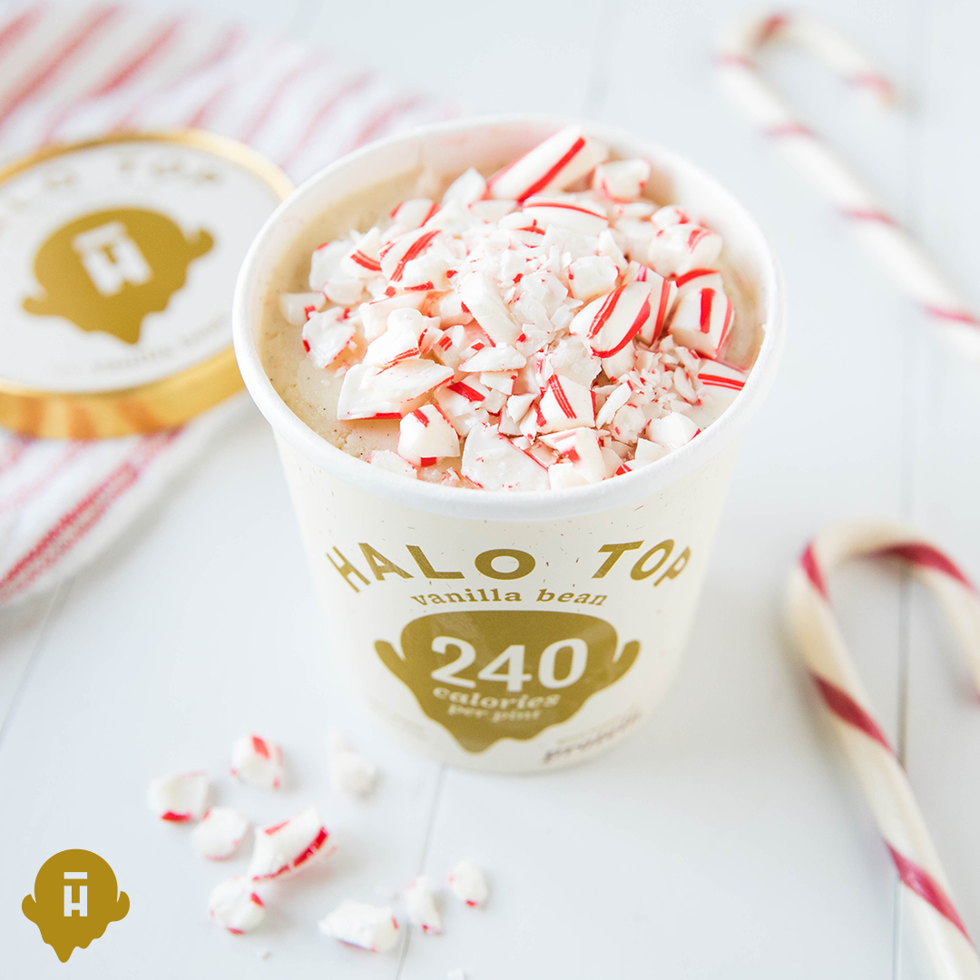 Long live the cane – be sure to enjoy your candy canes with a pint of Halo Top.