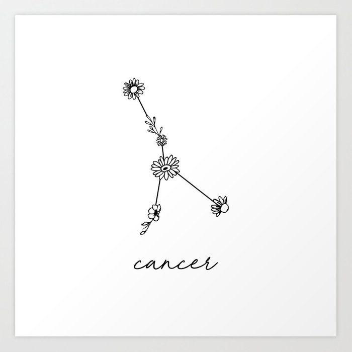 Cancer Floral Zodiac Constellation Art Print by aterkaderk
