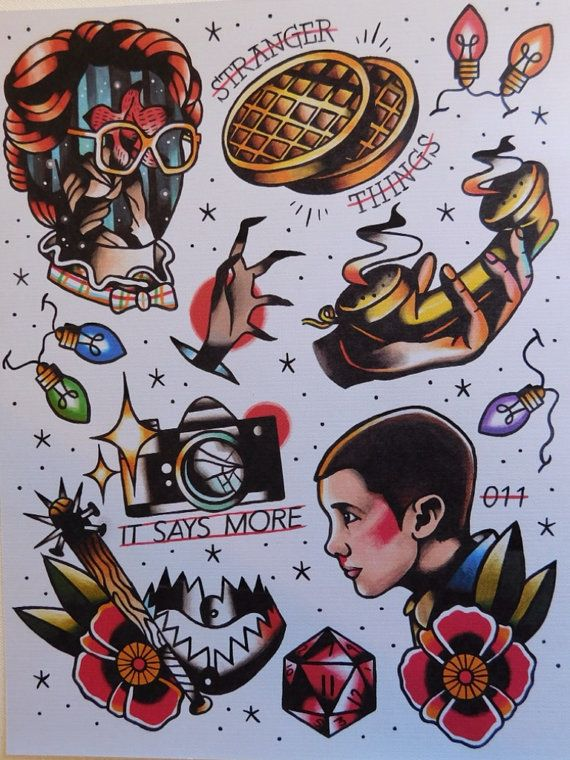 Stranger things inspired tattoo flash sheet print by for Eleven tattoo stranger things