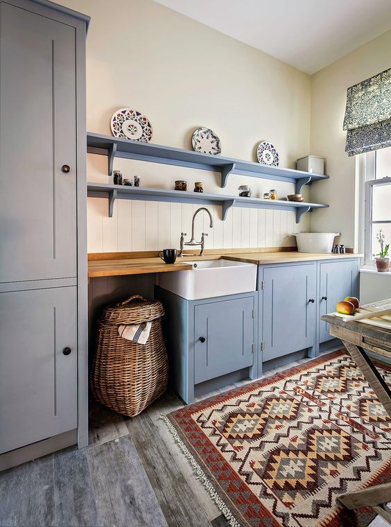 Wicker Hamper Kitchen Farmhouse With Beadboard Backsplash Blue