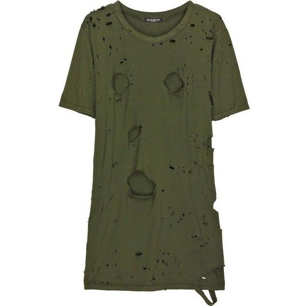 44669a107 DIY Distressed Balmain T-Shirt ❤ liked on Polyvore featuring tops, t-shirts,  ripped t shirt, green tee, destruction t shirt, balmain t shirt and green  top