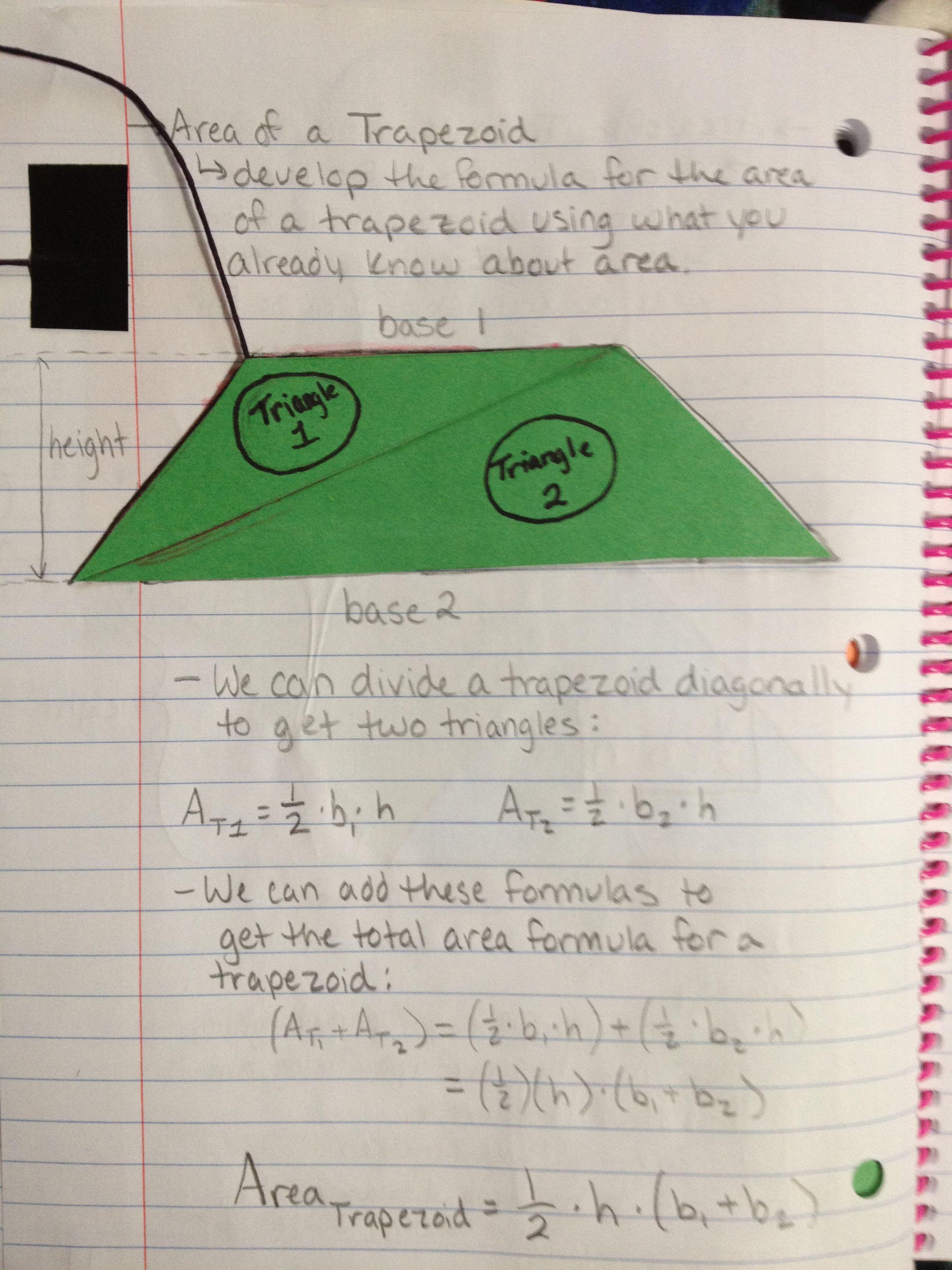Area Of A Trapezoid Math Journal Katie Matematik Ilkogretim [ 3264 x 2448 Pixel ]