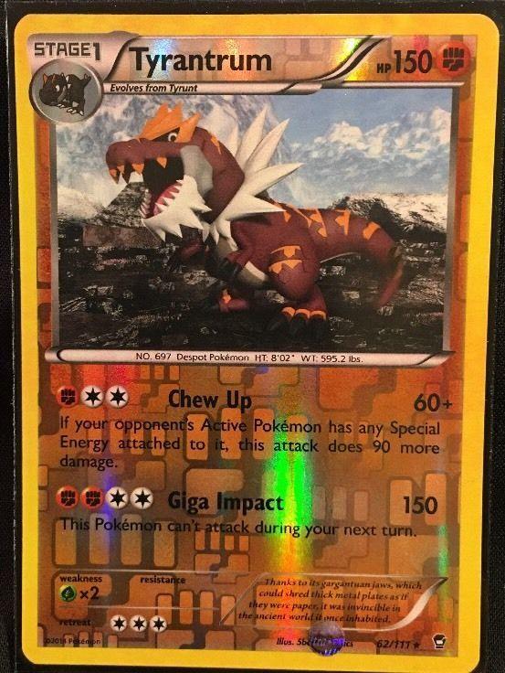 Pokemon Tyrantrum Reverse Holographic Card Pokemon Cards