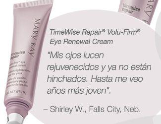 """TimeWise Repair® Volu-Firm® Eye Renewal Cream """"Mis ojos lucen rejuvenecidos y ya no están hinchados. Hasta me veo años más joven"""". Shirley W., Falls City, Nebraska"""