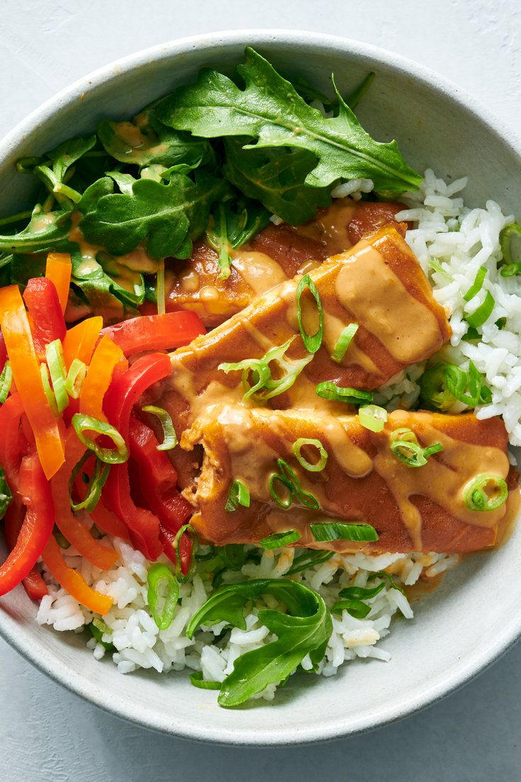 Baked Tofu With Peanut Sauce and Coconut-Lime Rice