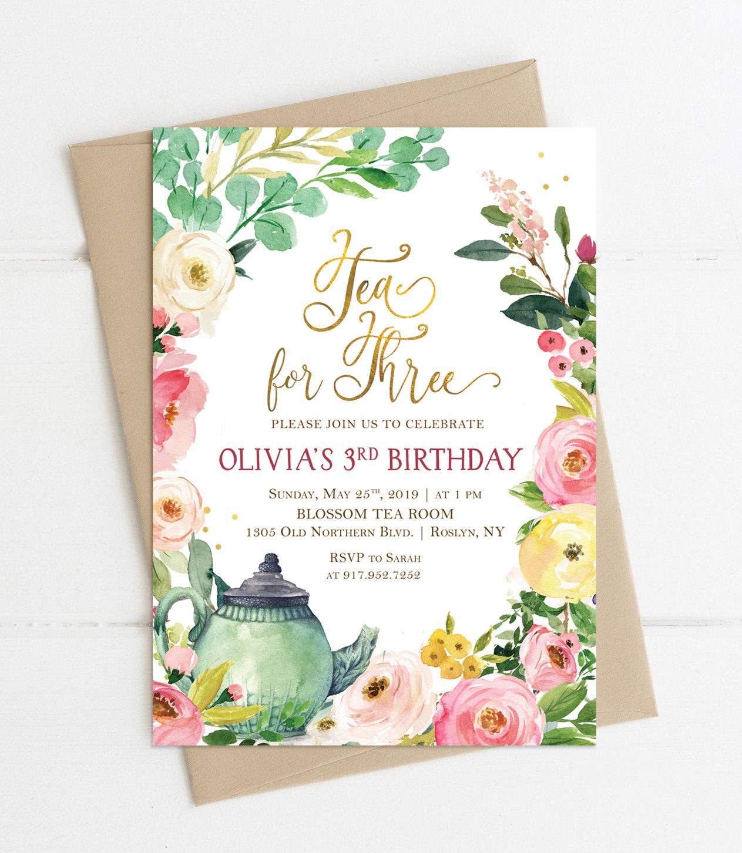 tea for three birthday invitation girl invite floral tea