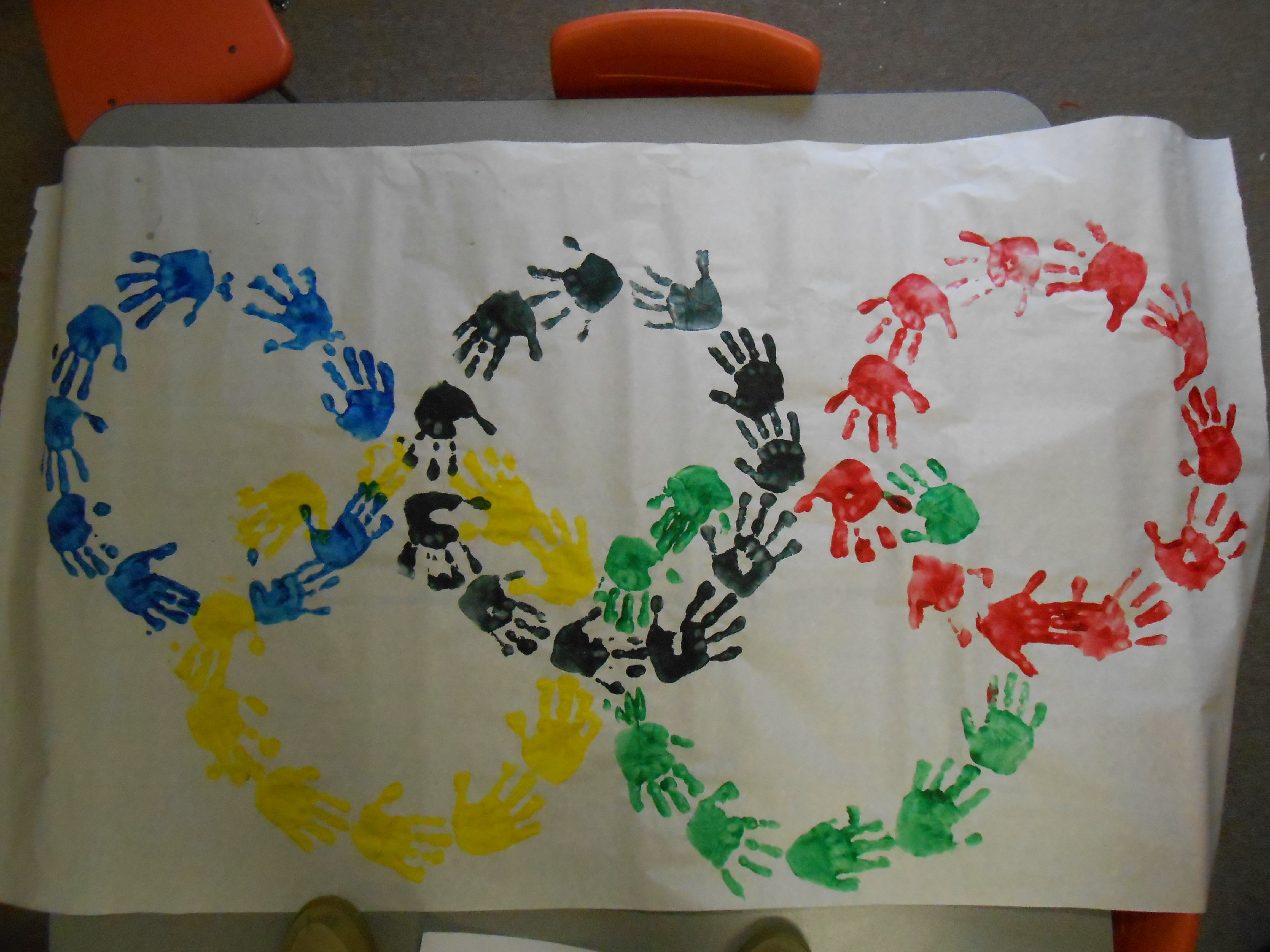 Olympic Rings Done With The Preschool Children S Hand Prints