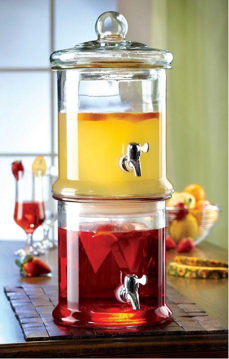 Glass Beverage Dispensers Double Drink Tea Lemonade Parties Picnic