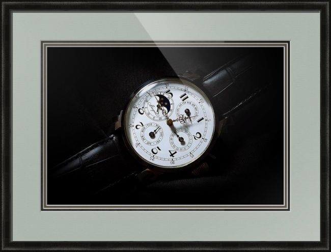 "Breguet Moonphase Triple Calendar Swiss Watch // Paper: enhanced matte; Glazing: acrylic; Moulding: black, belmont dark olive; Top Mat: green, dynasty celadon; Middle Mat: green, spruce; Bottom Mat: green, forest floor // Price starts at $202 (Petite: 19"" x 22""). // Customize at http://www.imagekind.com/Breguet-Moonphase-Triple-Calendar-Swiss-Timepiece_art?IMID=60cf7cc5-000e-433f-9585-738260b6974f"