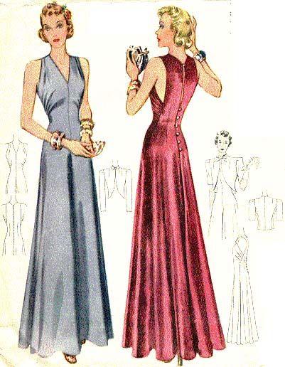 McCall 3400 | 1939 Evening Dress | FIGURINES. ILUSTRACIONES ...