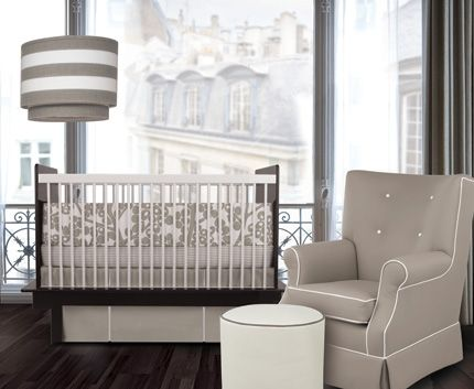 Oilo Modern Berries Crib Set - Taupe - Simple Shapes Wall Decals ...