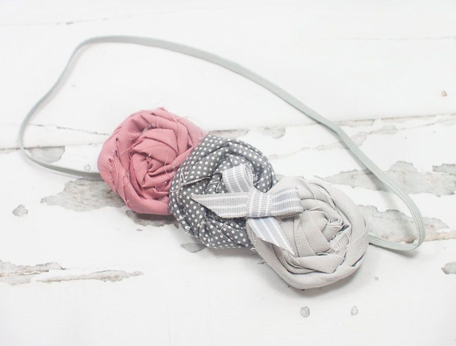 Love Bug - rolled rosettes in dusty pink/mauve and grey by SoTweetDesigns on Etsy