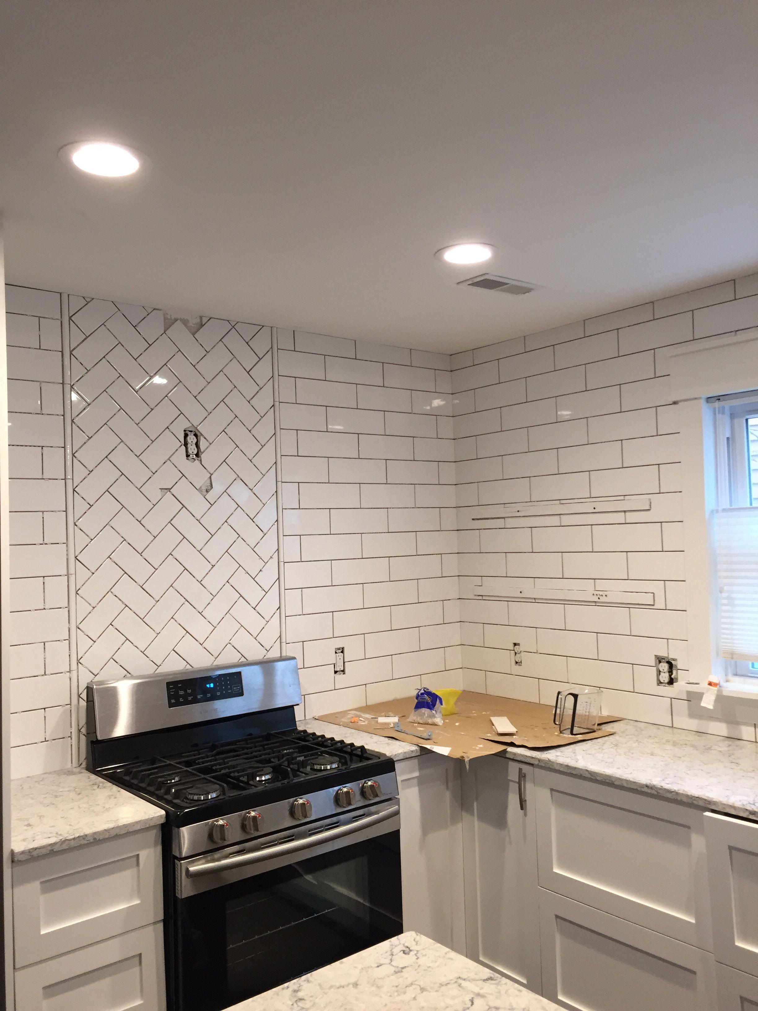 - Herringbone Accent Above Stove - In Process Stove Decor, Kitchen
