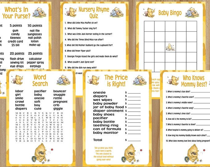 Winnie the Pooh Game Bundle, Winnie the Pooh Baby Shower Game Bundle, Winnie the Pooh Game, Candy Match, Word Scramble, Wishes for Baby