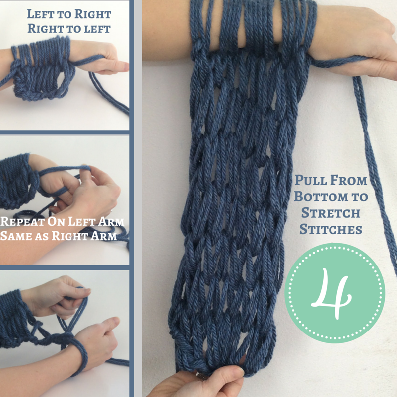 How To Arm Knit Step By Step Instructions Diy Pinterest